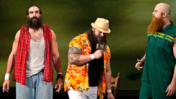 Wyatt Family members Luke Harper, left, and Erick Rowan, right, are centered by Bray Wyatt at an undated NXT taping in Full Sail, Florida. PHOTO COURTESY OF WWE.COM