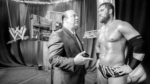 Paul Heyman and Curtis Axel discuss strategy behind the scenes on Monday Night Raw on May 20, 2013. PHOTO COURTESY OF WWE.COM