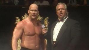 """Stone Cold"" Steve Austin begins his meteoric rise in WWE with an unforgettable speech after winning King of the Ring on June 23, 1996. Photo courtesy wwe.com"
