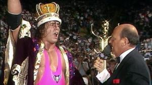 Bret Hart is interviewed by Mean Gene Okerlund after winning the inaugural King of the Ring pay-per-view in 1993.