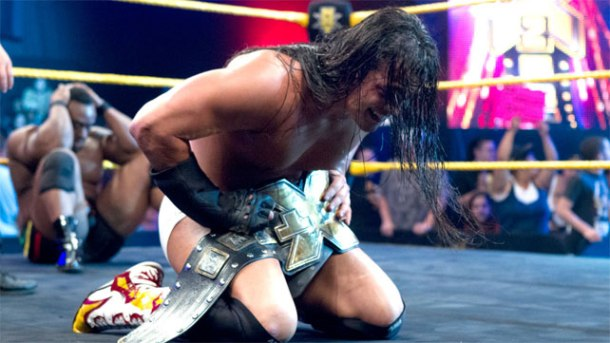 Bo Dallas wins the NXT title over Big E Langston on the June 16 airing of NXT in Full Sail, Florida. PHOTO: WWE.COM