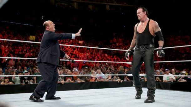 Paul Heyman bites off more than he can chew with the Undertaker on WWE RAW on July 20, 2015. PHOTO: wwe.com