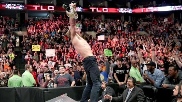 Dean Ambrose celebrates winning the Intercontinental championship from Kevin Owens at the WWE TLC PPV on Sunday, December 13, 2015. PHOTO: wwe.com